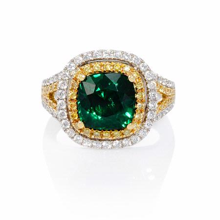 Le Vian Diamond and Tsavorite 18k Two Tone Gold Ring