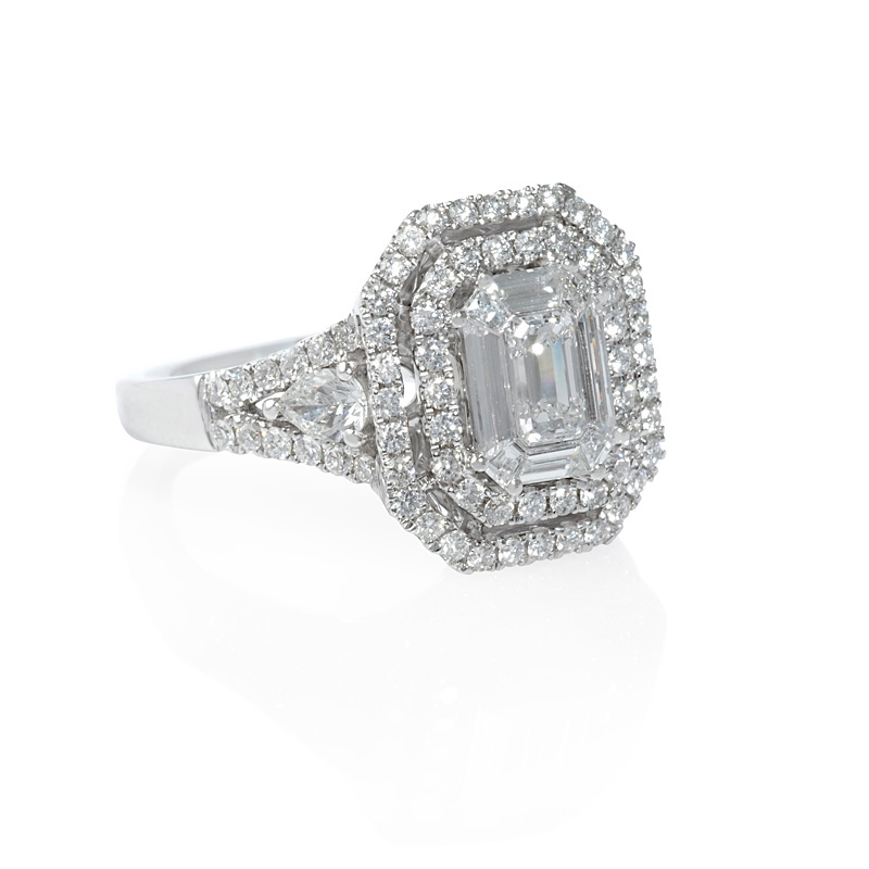 1.35ct Diamond 18k White Gold Double Halo Mosaic Engagement Ring