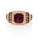 Le Vian Chocolatier Diamond and Raspberry Rhodolite Antique Style 14k Strawberry Gold Ring