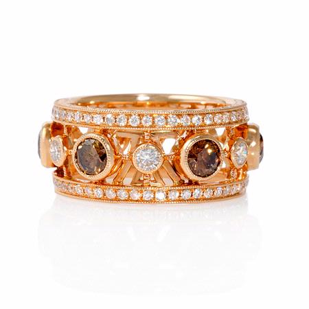 Le Vian Diamond Antique Style 18k Strawberry Gold Ring