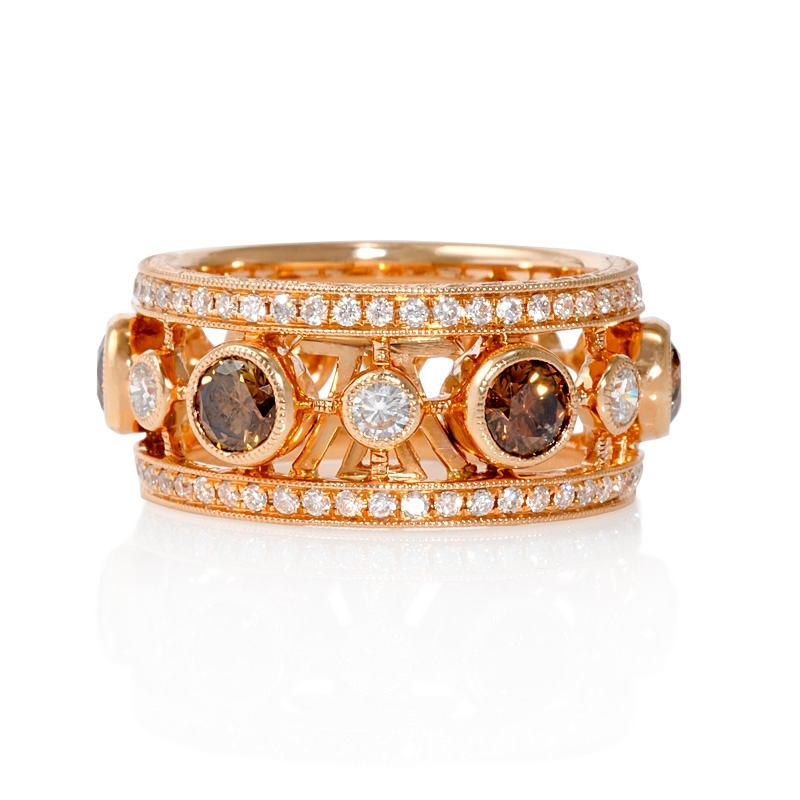 48ct le vian antique style 18k strawberry gold ring