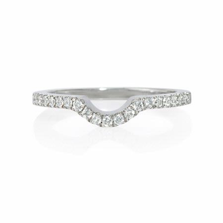 Natalie K Diamond 18k White Gold Wedding Band Guard Ring