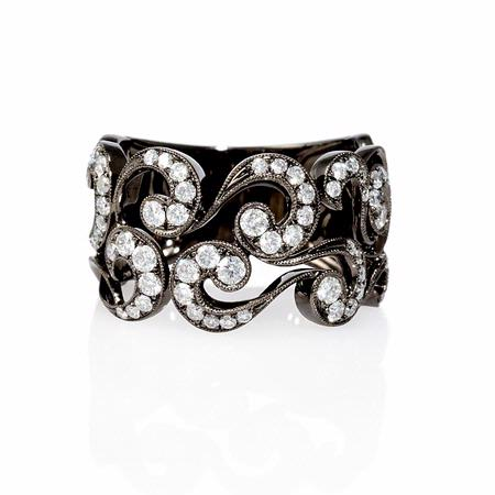 Diamond Antique Style 18k White Gold and Black Rhodium Ring