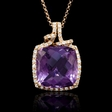 .36ct Diamond and Purple Amethyst 18k Rose Gold Pendant