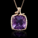 Diamond and Purple Amethyst 18k Rose Gold Pendant