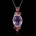 Diamond, Purple Amethyst and Pink Tourmaline 18k White Gold Pendant