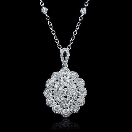 Diamond Antique Style 18k White Gold Cluster Pendant