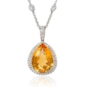 Diamond and Citrine 18k White Gold Pendant
