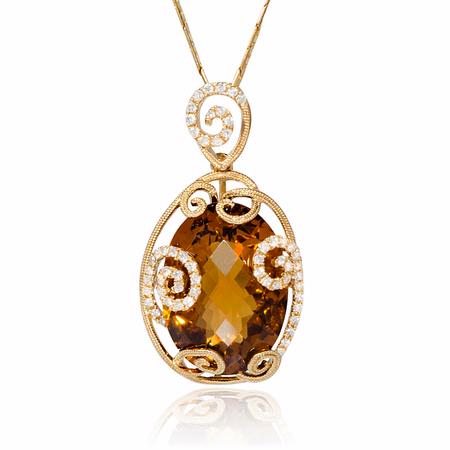 Diamond and Citrine Antique Style 18k Yellow Gold Pendant