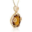 .30ct Diamond and Citrine Antique Style 18k Yellow Gold Pendant