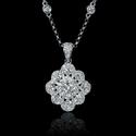 Diamond 18k White Gold Flower Pendant