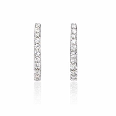 .86ct Diamond 18k White Gold Huggie Earrings