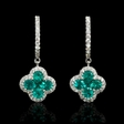 .40ct Diamond and Emerald 18k White Gold Dangle Earrings
