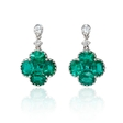 .22ct Diamond and Emerald 18k White Gold Dangle Earrings