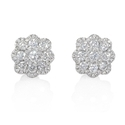 Diamond 18k White Gold Cluster Flower Stud Earrings