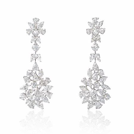 10.80ct Diamond 18k White Gold Dangle Earrings