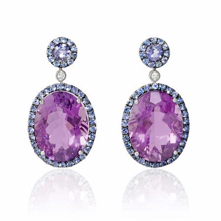 Diamond, Blue Sapphire and Purple Amethyst 18k White Gold and Black Rhodium Dangle Earrings