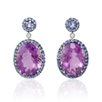 .03ct Diamond, Blue Sapphire and Purple Amethyst 18k White Gold and Black Rhodium Dangle Earrings