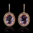 1.18ct Diamond and Pink Amethyst 14k Rose Gold and Black Rhodium Dangle Earrings