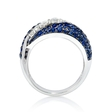 .49ct Diamond and Blue Sapphire 18k White Gold and Black Rhodium Ring
