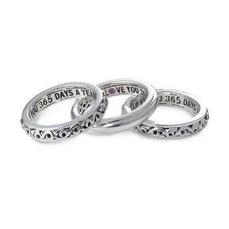 Charles Krypell I Love You 365 Days A Year Pink Sapphire Sterling Silver Ring Set