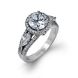 1.12ct Simon G Diamond 18k White Gold Halo Engagement Ring Setting