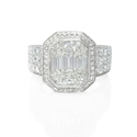 Simon G Diamond Antique Style 18k White Gold Mosaic Engagement Ring