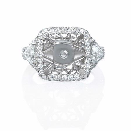 2.01ct Diamond Antique Style 18k White Gold Engagement Ring Setting