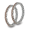 1.05ct Charles Krypell Sterling Silver and Brown Diamond Hoop Earrings