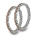 Charles Krypell Sterling Silver and Brown Diamond Hoop Earrings