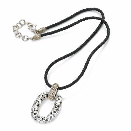 Charles Krypell Sterling Silver and Brown Diamond Leather Chord Necklace
