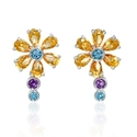 Citrine, Blue Topaz and Purple Amethyst 18k White Gold Flower Earrings