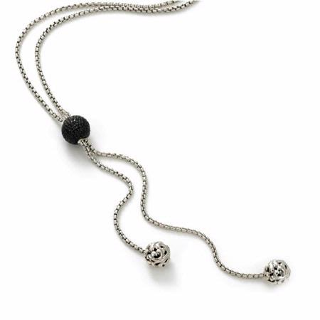 Charles Krypell Sterling Silver and Black Sapphire Lariat