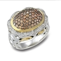 Charles Krypell 18k Yellow Gold and Sterling Silver Brown and White Diamond Ring