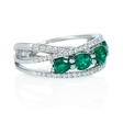.48ct Diamond and Emerald 18k White Gold Ring