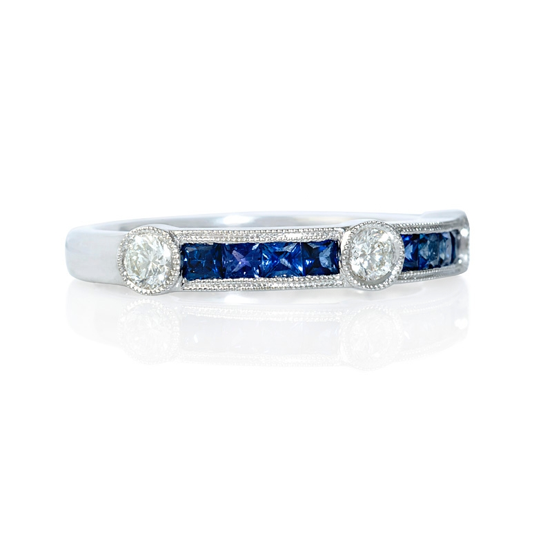 27ct and blue sapphire antique style 18k white
