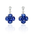 .21ct Diamond and Blue Sapphire 18k White Gold Dangle Earrings