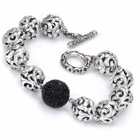 Charles Krypell Sterling Silver and Black Sapphire Bead Bracelet
