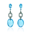 .68ct Green Diamond and Blue Topaz 18k White Gold and Black Rhodium Dangle Earrings