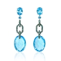 Green Diamond and Blue Topaz 18k White Gold and Black Rhodium Dangle Earrings