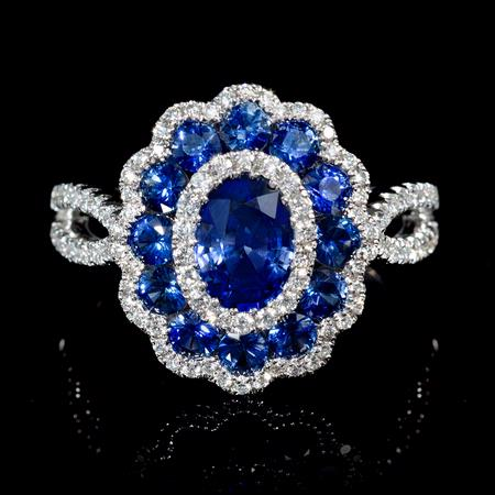 Diamond and Blue Sapphire 18k White Gold Flower Ring