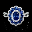 .45ct Diamond and Blue Sapphire 18k White Gold Flower Ring