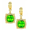 Charles Krypell 18K Yellow Gold Peridot and Diamond Drop Earrings