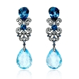 .54ct Diamond, Blue Sapphire and Blue Topaz Antique Style 18k White Gold and Black Rhodium Dangle Earrings