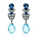 Diamond, Blue Sapphire and Blue Topaz Antique Style 18k White Gold and Black Rhodium Dangle Earrings