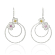 3.32ct Diamond and Sapphire 18k White Gold Dangle Earrings