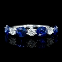 Diamond and Oval Cut Blue Sapphire 18k White Gold U Prong Ring