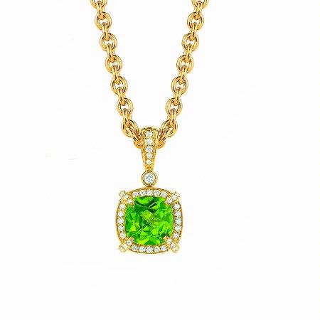 Charles Krypell 18K Yellow Gold Peridot and Diamond Reversible Pastel Pendant Necklace