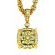 Charles Krypell 18K Yellow Gold Peridot and Diamond Reversible Pastel Pendant Neckalce