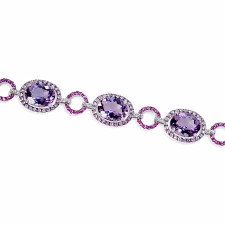 .36ct Diamond, Pink Sapphire and Purple Amethyst 18k White Gold and Black Rhodium Bracelet